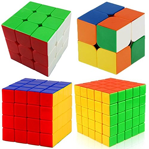 Amazon Lightning Deal 90% claimed: Super Value - Magic Speed - Cube Puzzle 4 in One Set - Cube Pack of 2x2 , 3x3 , 4x4 , 5x5- Stickerless Speed Edition - Black