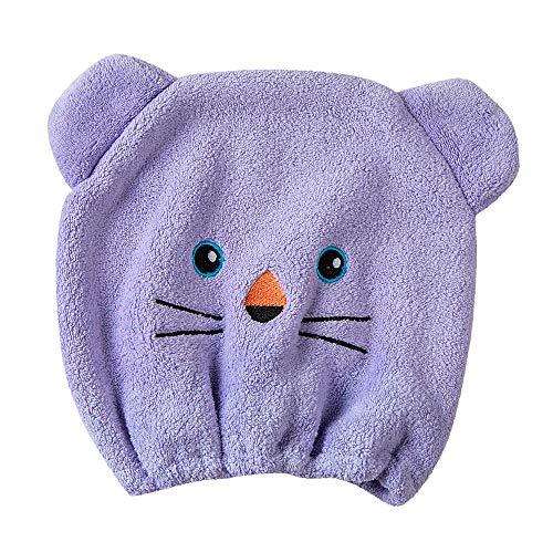 - Dry Hair Hat,Women Girls Bathing Cap Microfiber Hair Turban Quickly Dry Hair Hat Wrapped Towel (purple)
