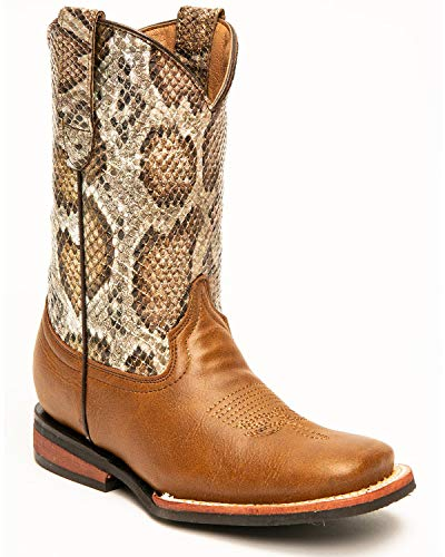 Ferrini Boys' Snake Print Western Boot Round Toe Red/Brown 12