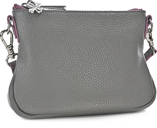 GEORGE GINA & LUCY, Damen Handtaschen, Umhängetaschen, Crossover-Bags, Crossbodys, Leder, Grau, 15 x 11,5 x 2,5 cm (B x H x T)