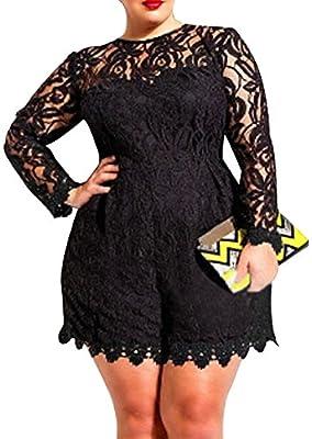 Roswear Women's Plus Size Round Neck Long Sleeve Lace Romper Dress