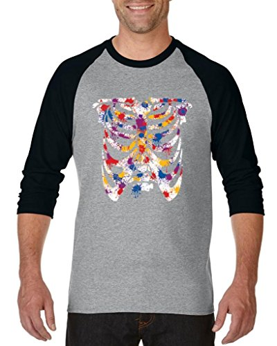 Blue Tees Skeleton For Happy Colorful Halloween Fashion Party People Costume Couples Gifts Unisex Raglan Baseball T-Shirt Small Heather Grey Black -
