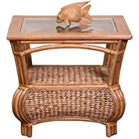 Alexander & Sheridan HAV021-AH Havana End Table in Antique Honey Finish with glass