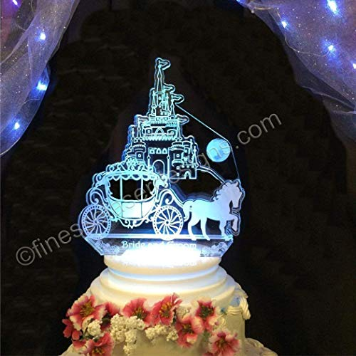Fairy Tale Castle and Carriage Acrylic Cake Top LED Wedding Birthday Quinceanera