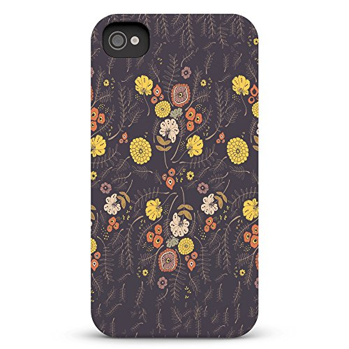 Koveru Back Cover Case for Apple iPhone 4/4S - Brown Yellow Pattern