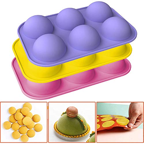 TONGHANG Medium 6-Cavity Semi Sphere Silicone Mold, Baking Mold for Making Hot Chocolate Bomb, Cake, Jelly, Pudding, Dome Mousse, BPA Free Silicone Molds for Baking 2 Pcs/ 3 Pcs/ 4 Pcs (D)