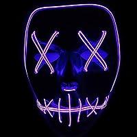 ToWinle Halloween Masks Festival Party Cosplay LED Light Up Maschera Di Carnevale Maschera Halloween Accessori Maschera Smorfia Alimentato a Batteria (Non Incluso) (Porpora)