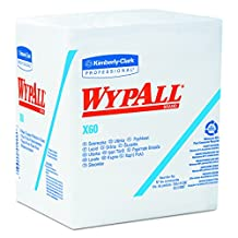 """Kimberly-Clark Wypall X60 Reinforced Disposable Wiper, 13"""" Length X 12-1/2"""" Width, White (12 Packs of 76)"""