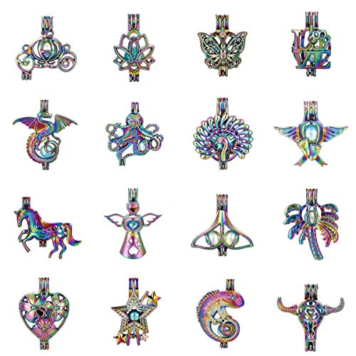 Mixed 16pcs Colored Carriage Lotus Butterfly Dragon Unicorn Pearl Beads Cage Locket Pendant Aroma Essential Oil Diffuser Locket DIY Necklace Earrings Bracelet Jewelry Making Supplies (Colored Mixed-1) ()