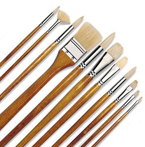 11 pcs Professional Oil & Acrylics Artist Brushes Pure Hog Bristles Long-Lasting Badger& Chungking hog - Lacquered Birchwood Long Handles with a Free Carrying Box