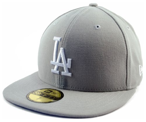 - New Era LA Los Angeles Dodgers Basic Grey MLB Cap 5950 Fitted Team Basecap(7 1/2)