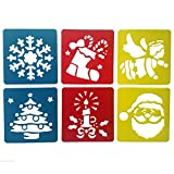 Mike Home 6 Piece Assorted Color Drawing Painting Stencils Templates for Kids (Christmas Decoration)