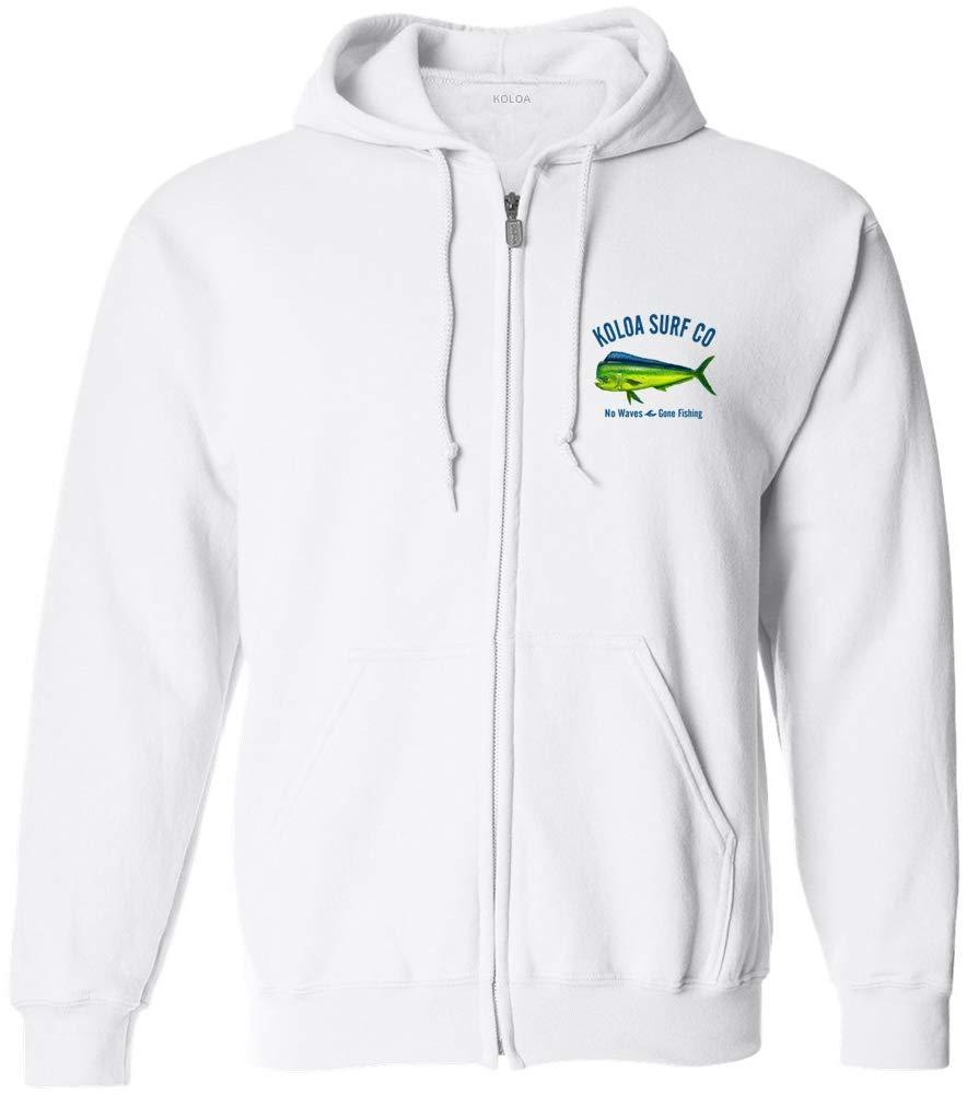 Koloa Mahi Mahi No Waves Zipper Hoodie Sweatshirt -White-S