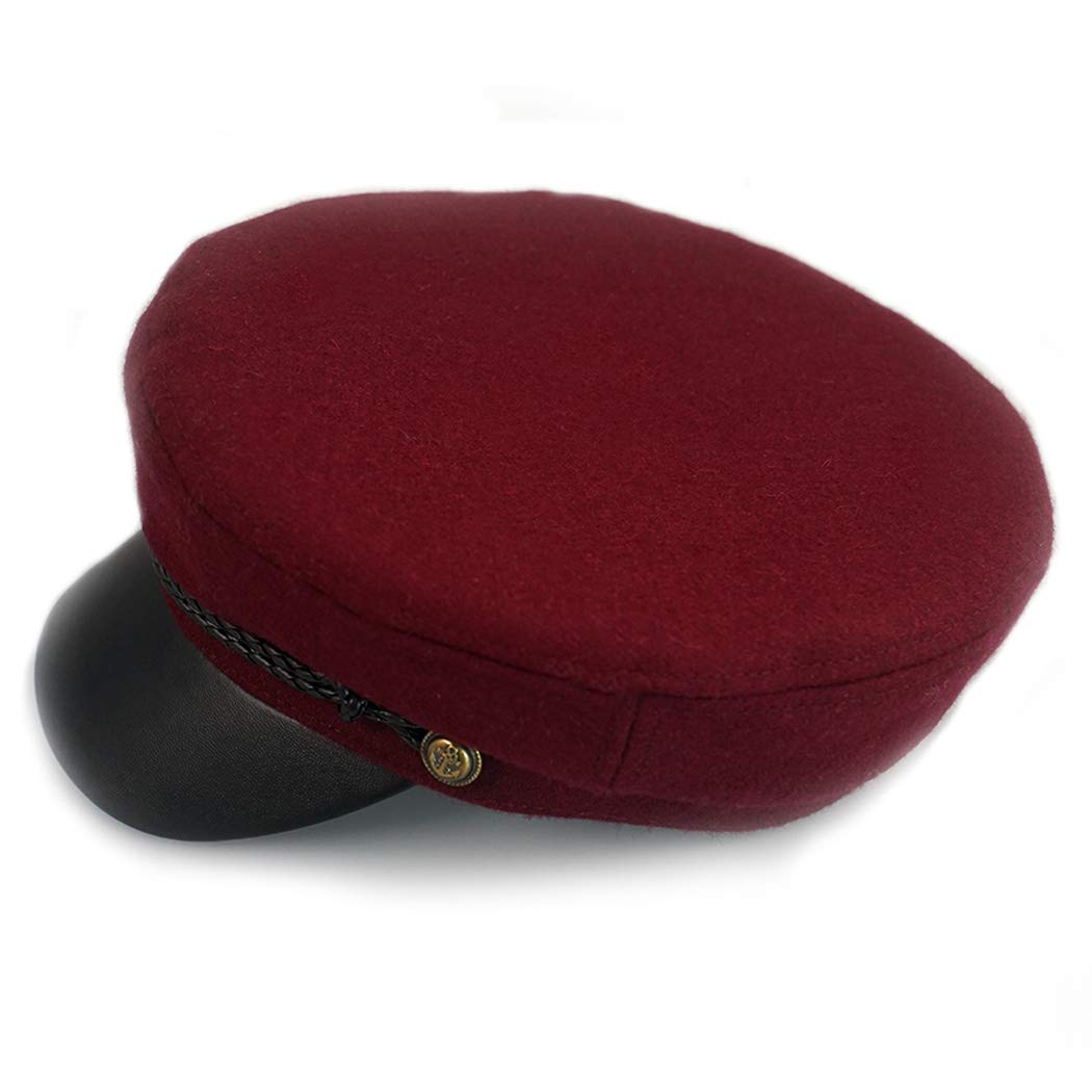 Wool Newsboy Hat,Greek Fisherman Hats Unisex Vintage Cosplay Visor Props Sailor Fiddler Caps