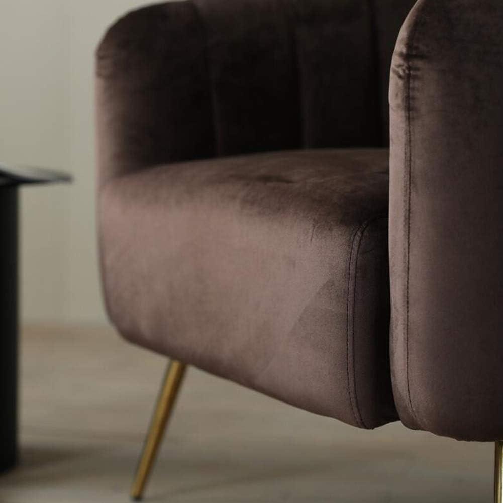 YQQ-Sofa Paresseux Fauteuil Occasionnel Velvet Moderne Chaise De Baignoire Chaise Longue avec Pieds en Métal Massif for Le Salon Chambre Accueil (Color : Brown) Brown