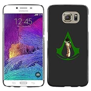 CASECO - Samsung Galaxy S6 - Assassins Giraffe Funny - Delgado Negro Plástico caso cubierta Shell Armor Funda Case Cover - Asesinos Jirafa divertida