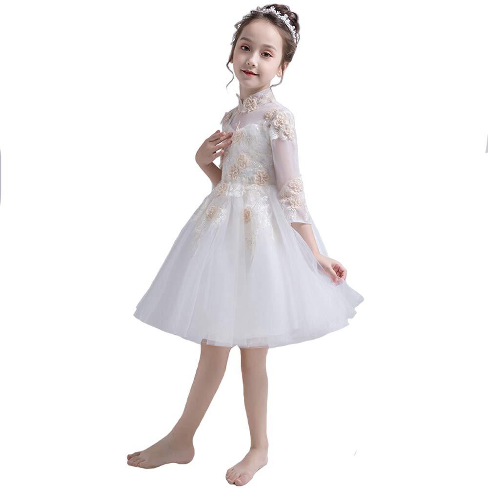 Blanc 120cm HUO FEI NIAO Robe de soirée pour Fille, Robe Moelleuse et Petit Costume d'hôte, Manches Longues (Couleur   Blanc, Taille   110cm)