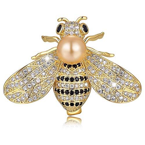 Rhinestone Bee Pin - XYIYI Women Honey Bee Brooch Rhinestone Insect Themed Pearl Brooch Pins (Gold)