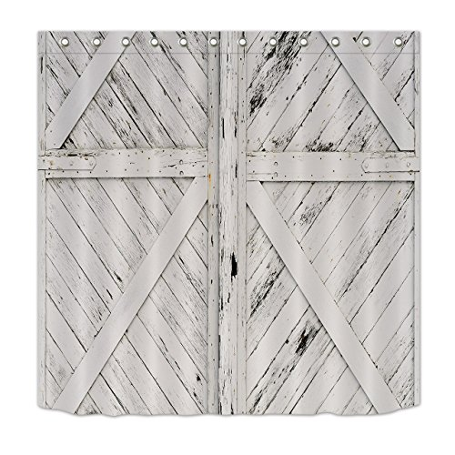 Rustic Barn Door White Painted Barn Wood Decor Shower Curtain for Bathroom by LB, Western Country Theme House Decor, Mildew Resistant Waterproof Fabric Decor Curtain, 72 x 72 Inch by LB