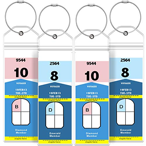 Tags, Weatherproof Zip Seal & Steel Loops for Royal Caribbean and Celebrity Cruise (4 Pack) ()
