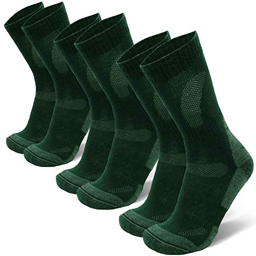 Merino Wool Hiking & Walking Socks 3 pack (Forest Green, US Women 11-13 // US Men 9.5-12.5)