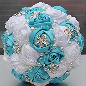 Luxury Handmade Romantic Silk Roses with Deluxe Rhinestones Bridal Wedding Bouquet Silk Rose 18CM 78
