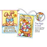 Happy Easter Bunny and Basket Two Sided House Flag For Sale