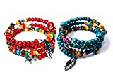 Syleia Bohemian Stretch Colorful Bracelets Set of 2 Red and Blue with Dangling Charms and Beads