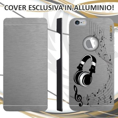 CUSTODIA COVER CASE CUFFIE MUSICA NOTA PER IPHONE 6S ALLUMINIO TRASPARENTE