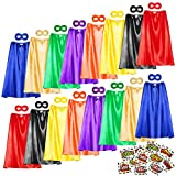 Superhero Capes, 16 Sets (32PCS) Bulk Pack Dress Up Costume for Kids Party, DIY Super Hero Capes and Masks with Stickers