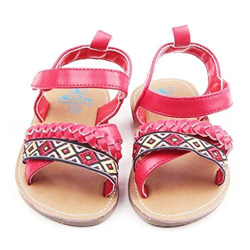Koly Bebé recién nacido En primer lugar Walker Zapatos antideslizantes Sandalias (12~18 Month, Negro ) Rojo