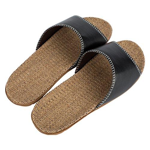 Haisum 8836-m - Zapatillas de estar por casa de Piel Sintética para hombre negro