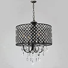 New Galaxy Lighting 4-Light Antique Black Round Metal Shade Crystal Chandelier Pendant Hanging Ceiling Fixture