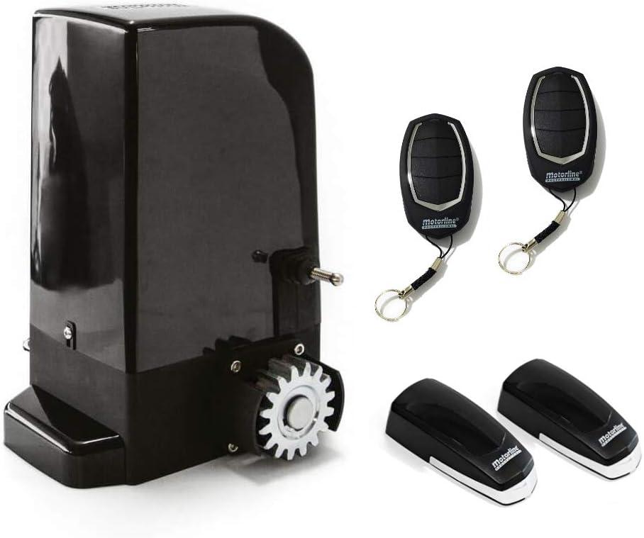 KIT Motor corredera Bravo 500 Kg, para automatizar puertas y cancelas correderas de uso residencial, parking, garaje, cochera, alta calidad con 2 mandos y sensor foto eléctrico de seguridad.