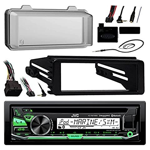 JVC KDR97MBS Marine Radio Stereo Receiver For 1998-2013 Harley Davidson Touring Flht Flhx Flhtc Bundle With Metra Adapter Dash Kit + Weathershield Cover + Handle Bar Control + Enrock Wire (Metra Marine)