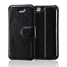 Belemay iPhone SE Case, iPhone 5S Case, iPhone 5 Case, Genuine Cowhide Leather Case Wallet, Folio Cover with Magnetic Closure, ID Card Slots, Stand Function, Money Pouch for iPhone SE / 5S / 5 - Black