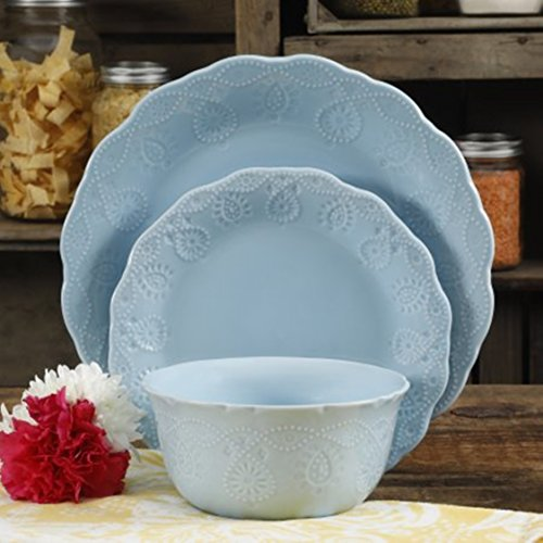 The Pioneer Woman Lace 12-Piece Dinnerware Set, Light Blue
