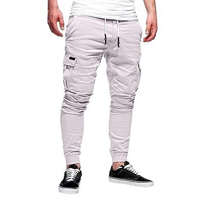 17430efeb2564 beautyjourney Pantalones de chándal elásticos para Hombre Leggings  Deportivos de Color sólido Pantalones Sueltos Casuales con cordón   Amazon.es  Ropa y ...