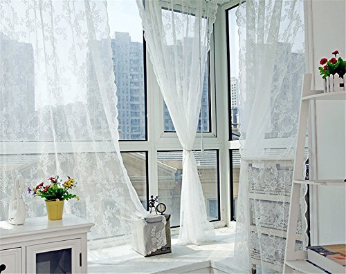 Better&Better Lace Romatic Floral Curtains for Living Room Washable 59.05″× 70.87″ (White)