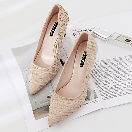 women champagne heeled Qiqi Xue pointed color with cm 37 shoes mouth high 5cm versatile and 5 shallow shoes mother single fine with and shoes wPxZpRqwn