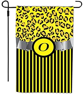 """Rikki Knight Letter """"O"""" Initial Yellow Leopard & Stripes Monogram Design Decorative House or Garden Flag, 12 by 18-Inch"""