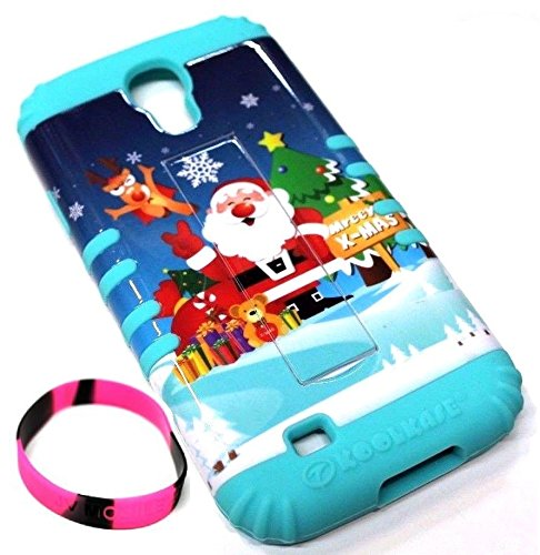 For Samsung Galaxy S4 Christmas Santa Claus Reindeer Tree Gifts Teddy Bear Mint Blue Hard & Soft Hybrid Rubber Koolkase Protective Skin Case with Kickstand - JV Accessories (Koolkase Samsung Galaxy S4 Case)