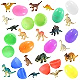 36 Toy Filled Easter Eggs and Kids Dinosaur Figurines - Ready To Fill - Kids Love Their Bright Colors and Adorable Designs - Perfect For Egg Hunts, Goodie Bags, Homework Rewards, and Party Favors