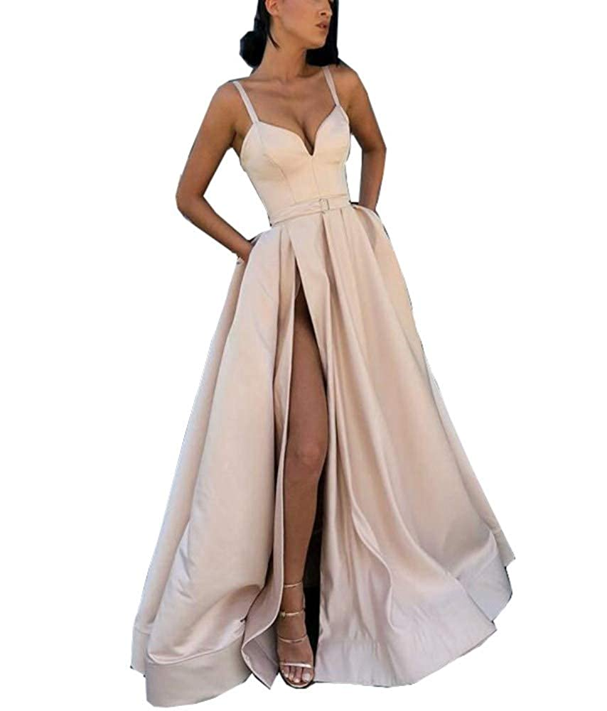 Champagne Honeydress Women's Long Evening Dress Sweetheart High Split Champagne Formal Gown with Pocket
