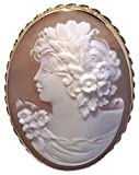 Romantica Cameo Master Carved, Sardonyx Shell Brooch and Pendant 18k Yellow Gold Italian
