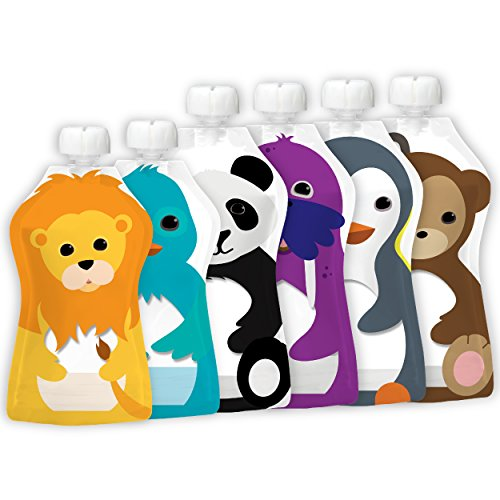 Squooshi Reusable Food Pouch - 2 Sizes - 4 Large 5 oz + 2 Small 3.4 oz Pouches