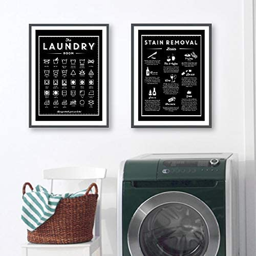 Amazon Com Liwendi Symbols And Remove Stains Laundry Sign Canvas Art Poster Print Black And White Painting Laundry Room Wall Decoration Housewarming Gift 30x40cmx2 Frameless Posters Prints