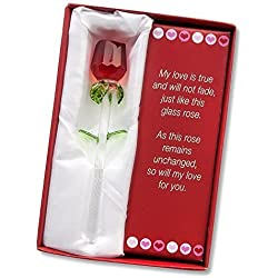 "Forever Rose - Valentines Day or Special Occasion - Say I Love You with this Handmade Glass Roses with Love Poems 5"" Boxed (RED, 1)"