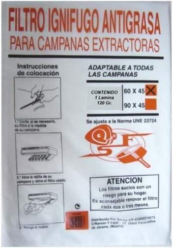 Sanfor Filtro IGNIFUGO para Campanas 60 X 45: Amazon.es: Hogar