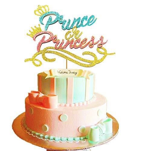JeVenis Prince or Princess Cake Topper Prince or Princess Gender Reveal Cake Topper Prince or Princess Baby Shower Cake Topper Boy or Girl Cake Topper -